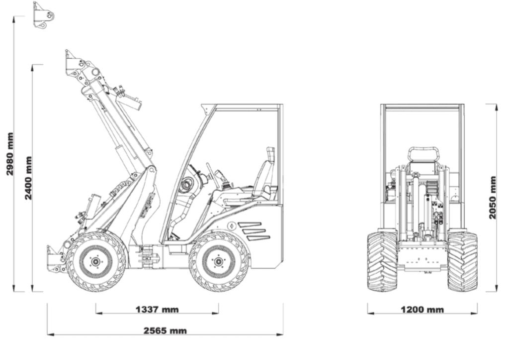 Cast Loaders électrique 800 eco dimensions