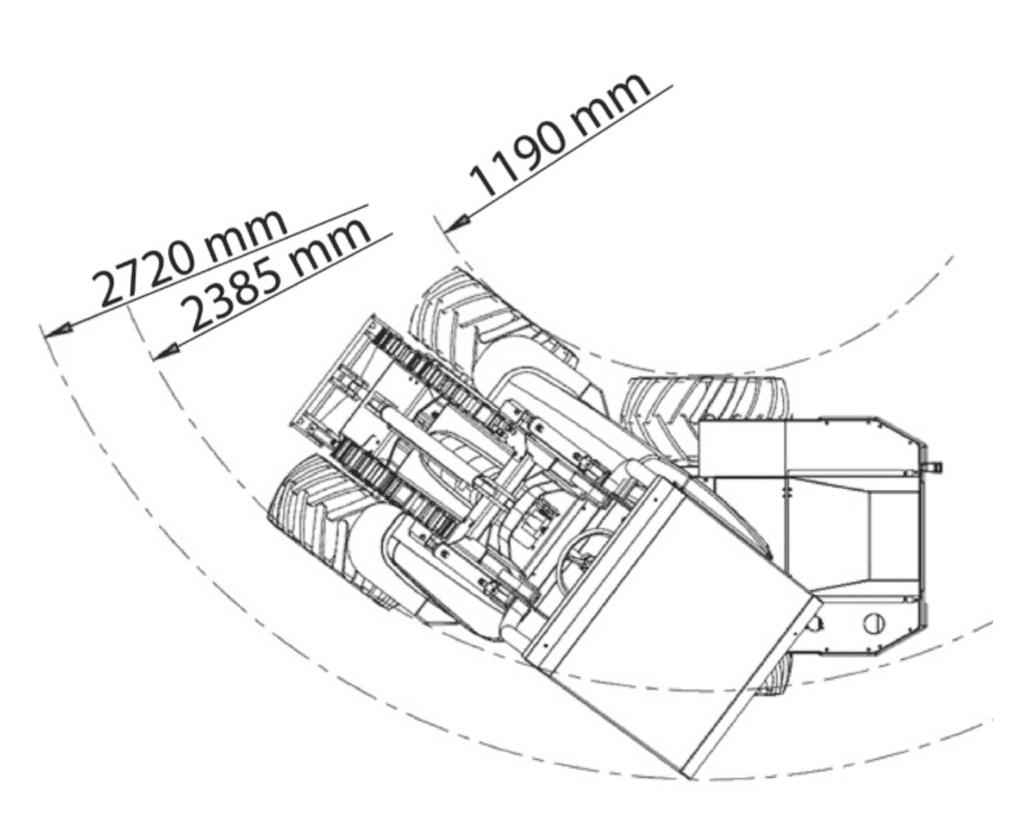 Valet de ferme compact Cast Loaders Genesis dimensions rayon braquage