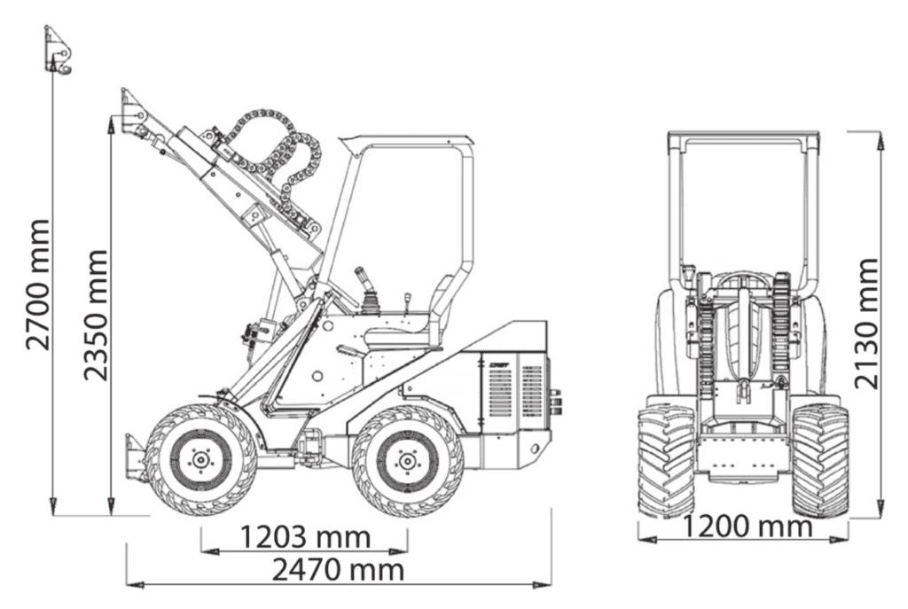 Valet de ferme compact Cast Loaders Genesis dimensions