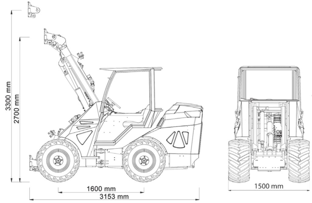 maxo ss 57hp dimensions